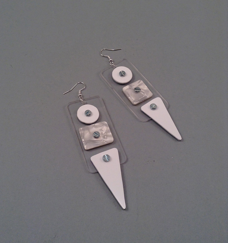 White credit earrings