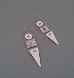 White credit earrings