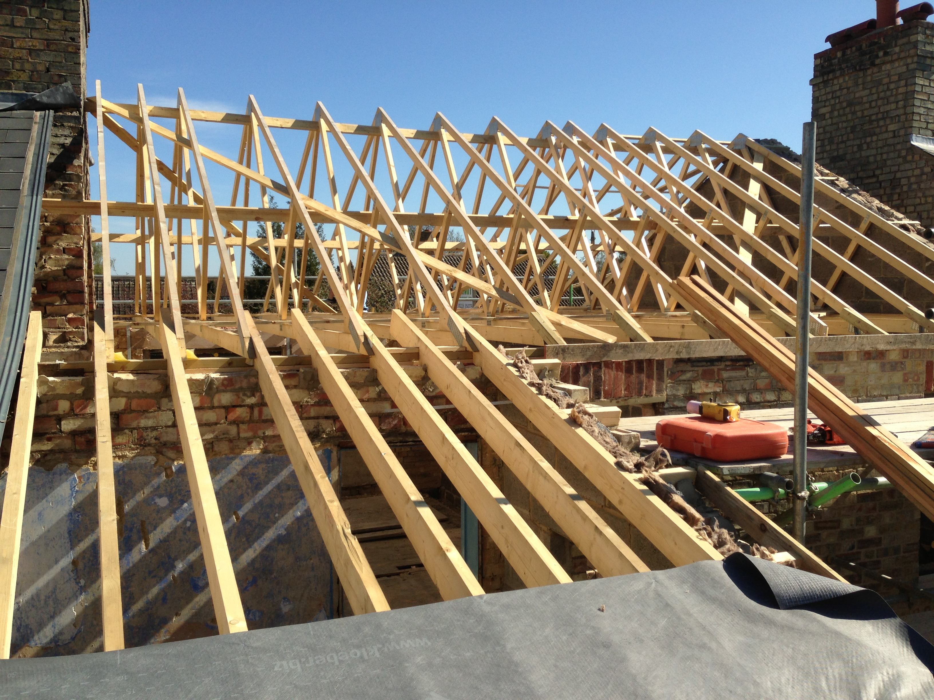Rafters ready for the roof