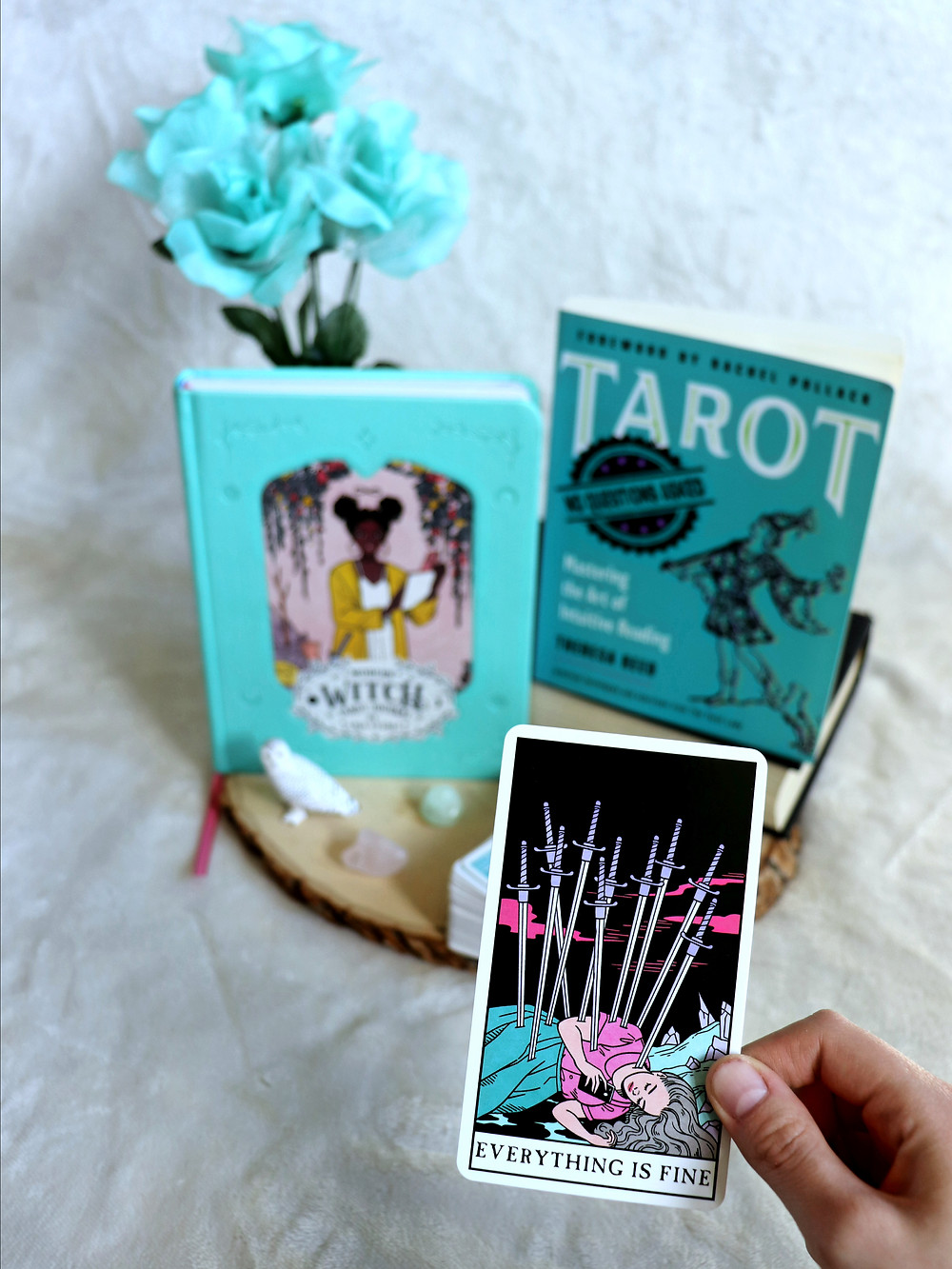 Tarot No Questions Asked bookstagram Coffee, Book, and Candle