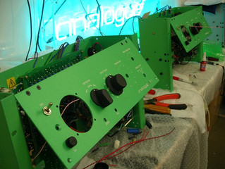 Production export USA. 1 Pair of AT-1 Mono Limiters fully custom anodized in Celery Green. Both unit