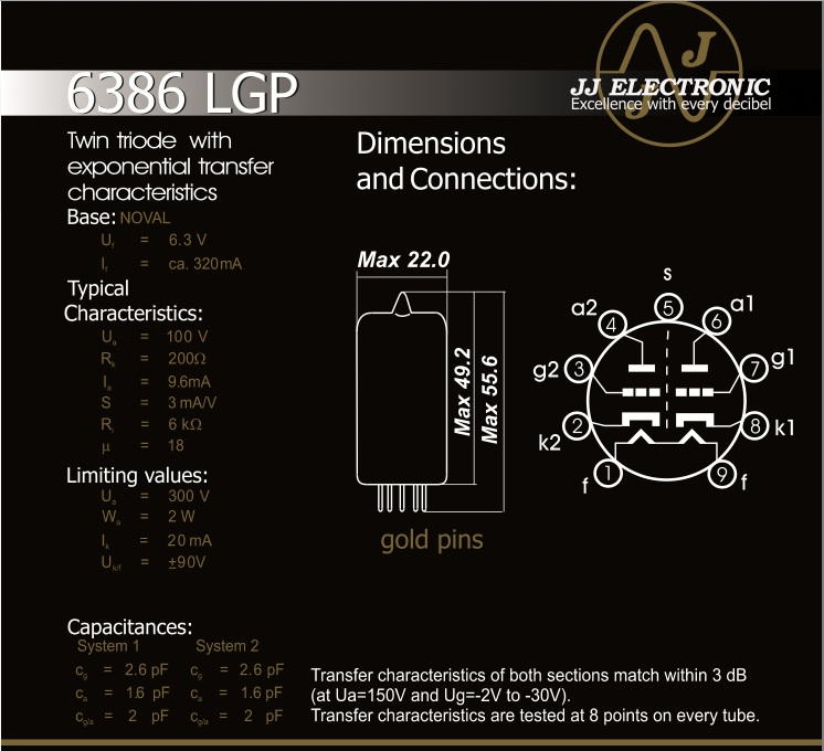 JJ Electronic 6386 Data Sheet