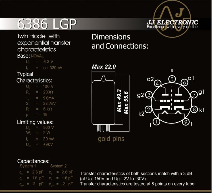 JJ Electronic 6386 Data Sheet