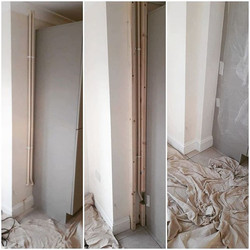 Pipes boxed in and skirting fitted