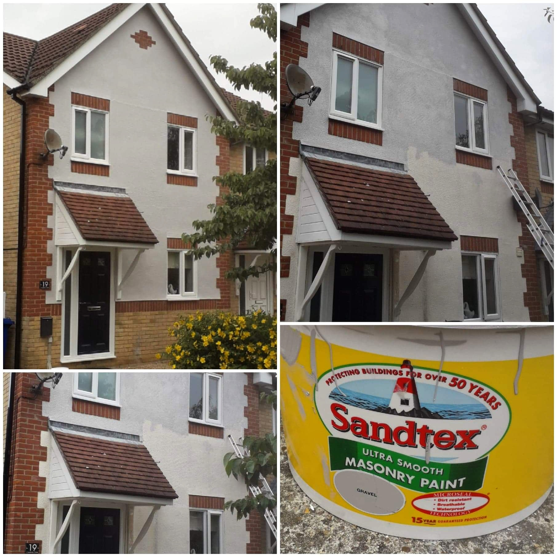 Exterior painted in #Sandtex masonry