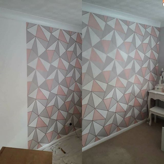 Geometric feature wall _Bedroom walls in
