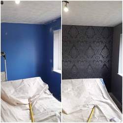 From Blue to Black! _Bedroom wallpapered