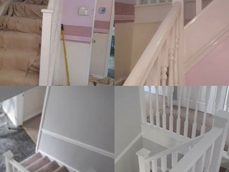 Hallway, stairs and landing re paint from pink to grey!