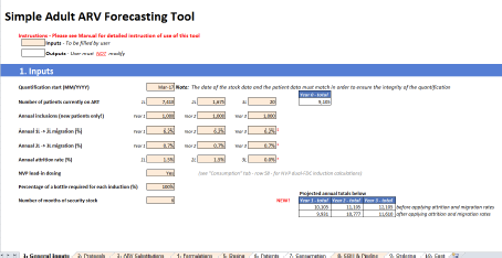 First Worksheet of Tool - General Inputs