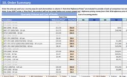 Tenth Worksheet of Tool - Cost of ORder