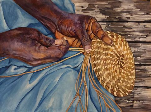 She Weaves Sweetgrass Baskets