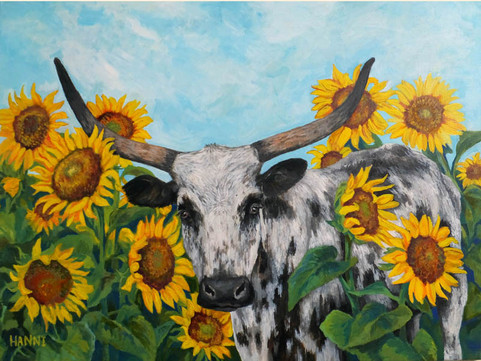 Longhorn with Sunflowers