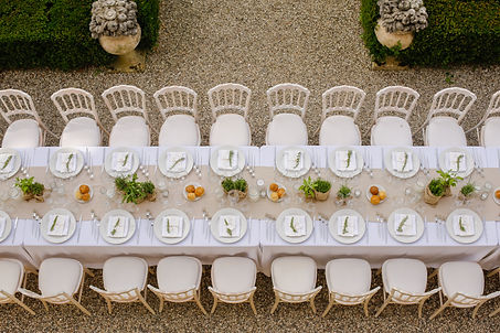 Elegant table setting for wedding at cas