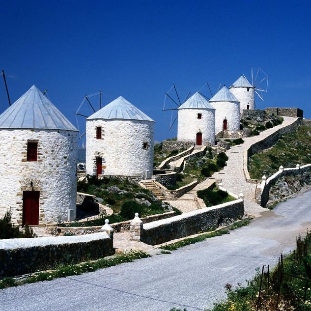 Windmills Overlooking Hora, Dodecanese,
