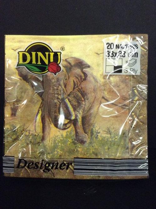 Dinu Designer Napkins Elephant  – 20 units