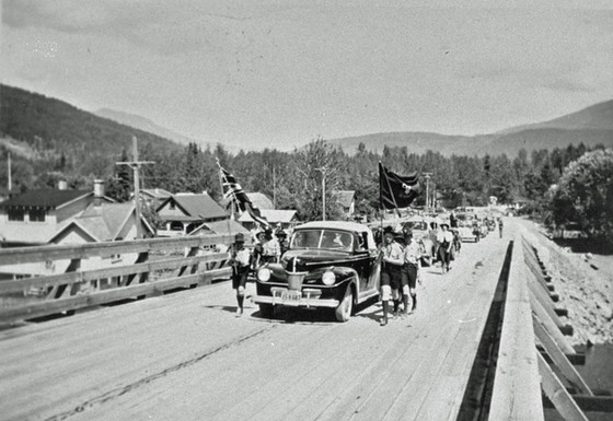 First Highway Bridge in Sicamous Across Channel
