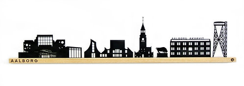 Aalborg by-motiv i sortlakeret stål og eg. 900 mm