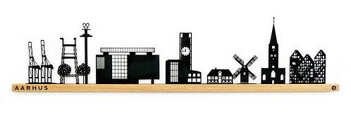 Aarhus by-motiv i sortlakeret stål og eg. 900 mm