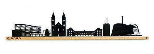 Viborg by-motiv i sortlakeret stål og eg. 900 mm