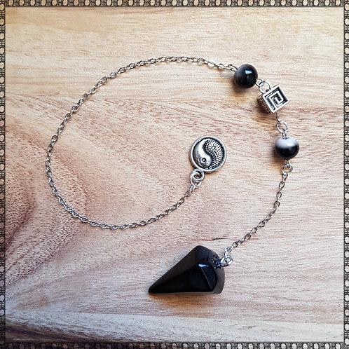 Yin Yang black agate gemstone pendulum
