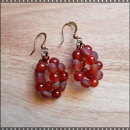 Carnelian and raw amber earrings