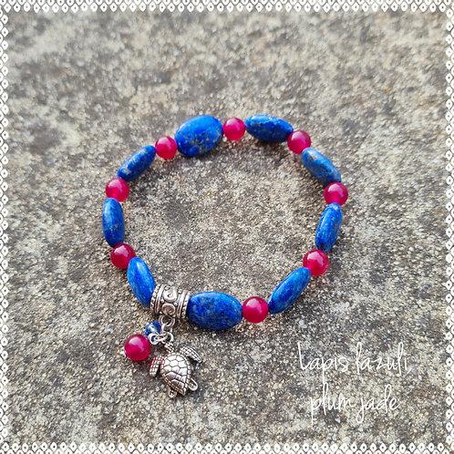 Lapis lazuli and plum jade bracelet
