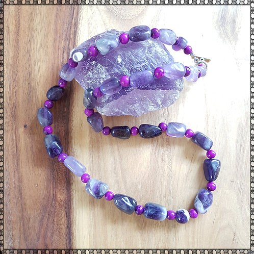Amethyst and sugilite necklace