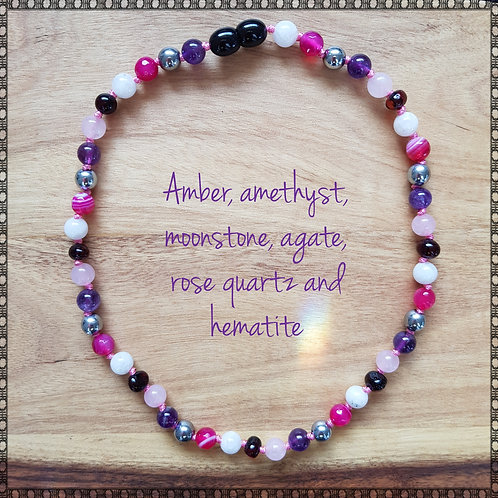 Necklace with amethyst, moonstone, pink agate, rose quartz and hematite