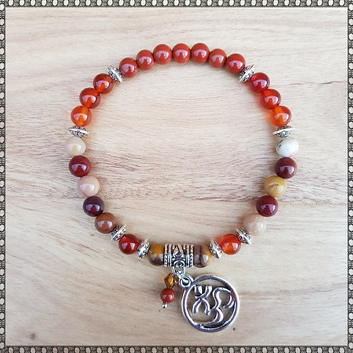 Mala bracelet with moukaite and carnelian