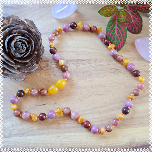 Necklace with apple jasper, sunstone and rhodochrosite