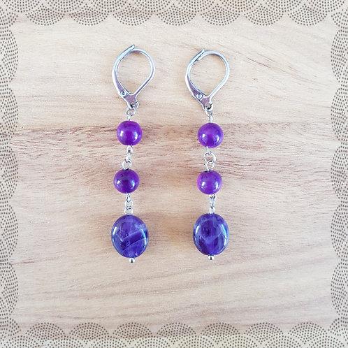 Sugilite and amethyst drop earrings