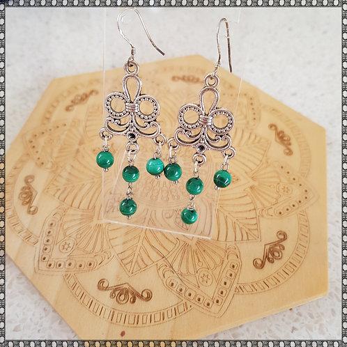 Natural malachite chandelier earrings