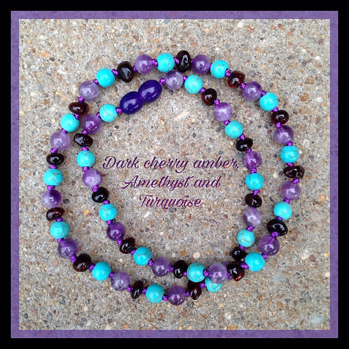 Dark cherry Baltic amber, amethyst and turquoise adult knotted necklace