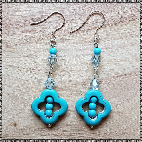 Flower earrings with turquoise and Swarovski