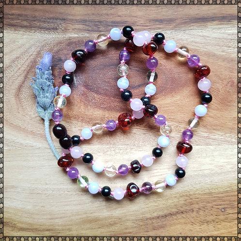 Emotional balance knotted gemstone necklace
