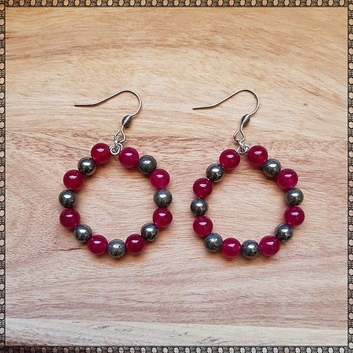 Hoop earrings with plum jade and golden pyrite