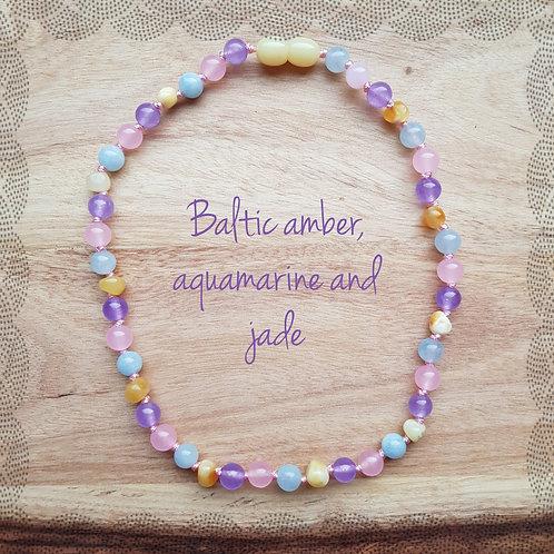Necklace with aquamarine, jade, rose quartz and butter amber