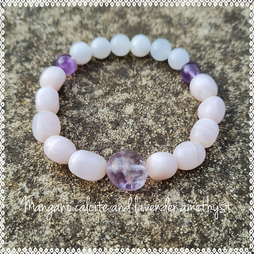 """""""Fondness"""" bracelet with mangano calcite and amethyst"""