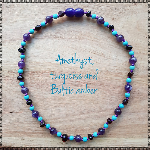 Necklace with black amber, amethyst and turquoise