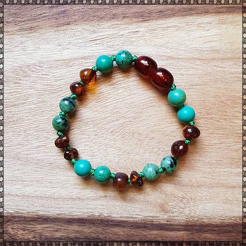 Baby anklet/bracelet with cognac amber, Tibetan green turquoise and zoisite