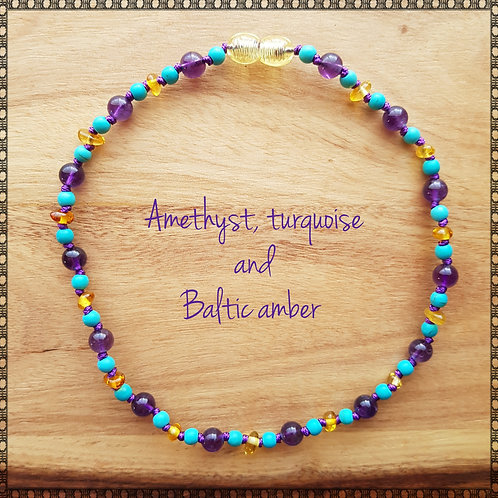 Necklace with amber, amethyst and turquoise