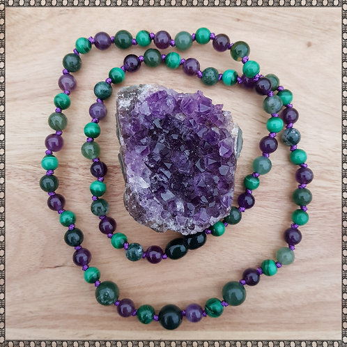 Midwife necklace and amethyst palm stone set