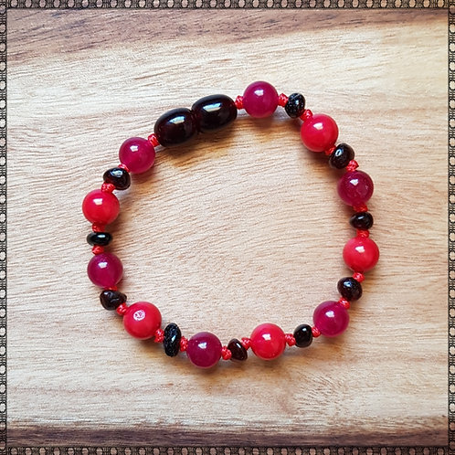 Baby bracelet/anklet with pink jade and red coral