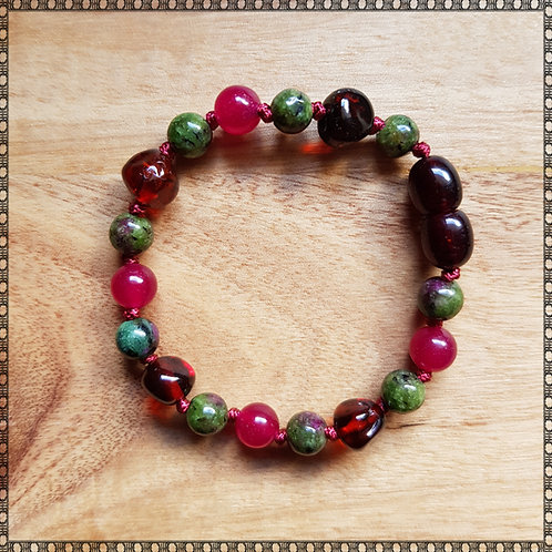 Baby bracelet/anklet with jade and ruby in zoisite