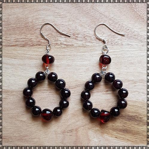 Hoop earrings with garnet and Baltic amber