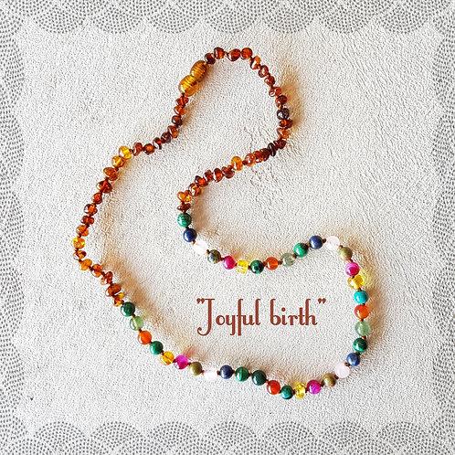"""Knotted """"Joyful Birth"""" gemstone birthing necklace"""