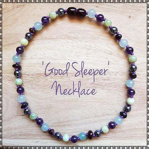 """Good sleeper"" knotted gemstone necklace"