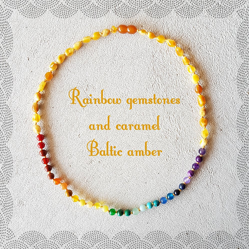 Rainbow adult knotted necklace