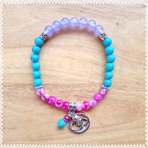 Mala bracelet with turquoise, violet jade and pink agate
