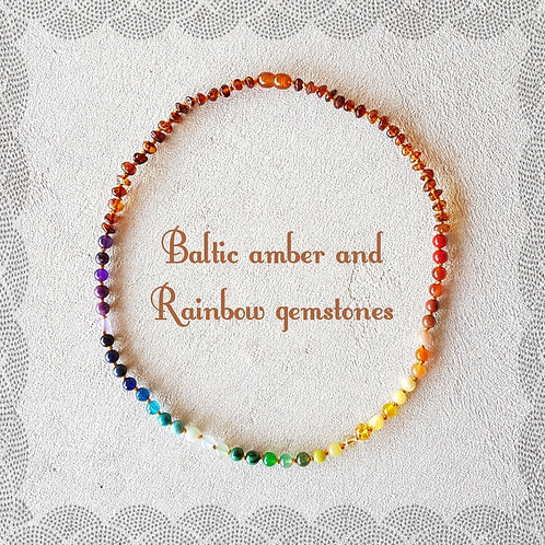 Rainbow adult knotted gemstone necklace